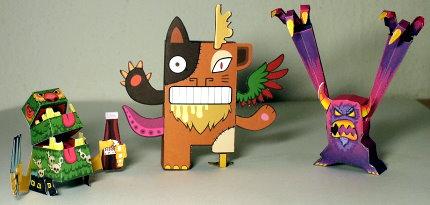 """Drei Modelle aus dem Buch """"Papertoy Monsters"""""""