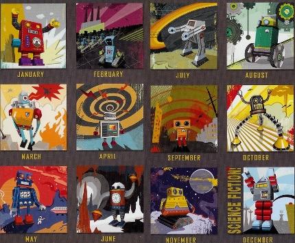 Die zwölf Motive des Wandkalenders Fold Your Own Robot 2012 Calendar