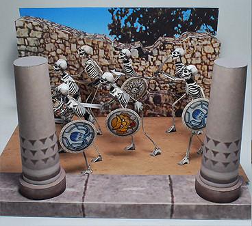 """Skelette aus dem Film """"Jason und die Argonauten"""" als Papiermodelle"""