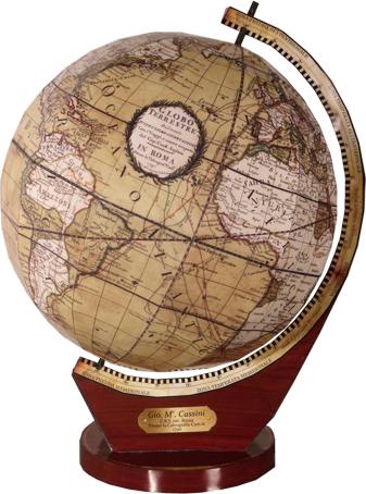 Globus aus dem Jahr 1790 zum Nachbau als Kartonmodell